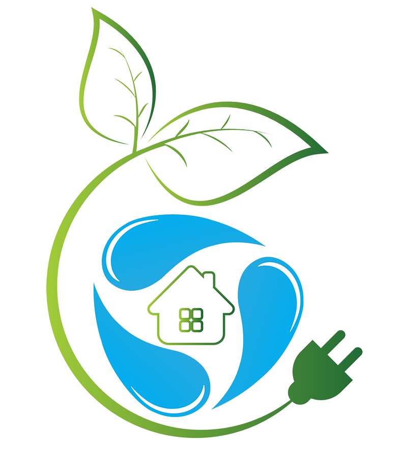 Green energy home graphic logo