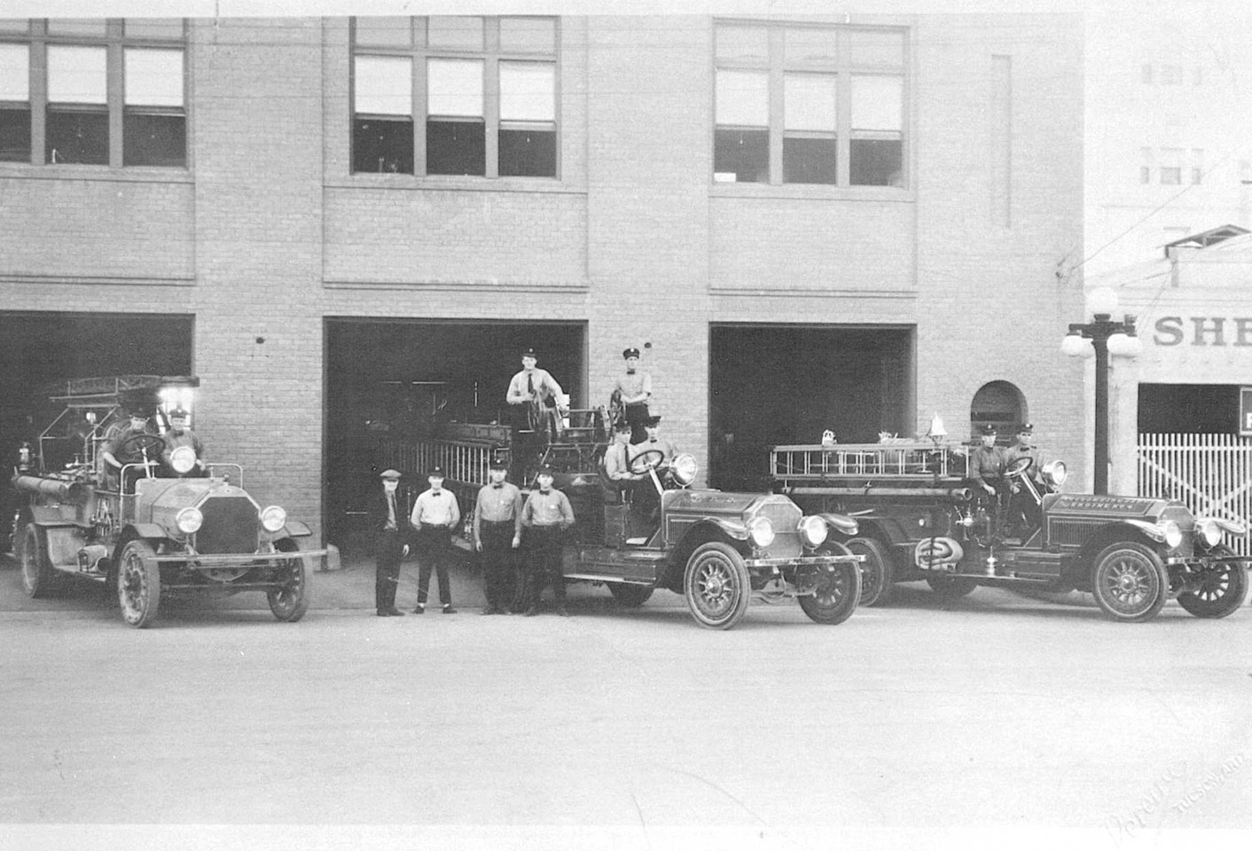 Photo of 1930's Fire Station and Fire Trucks