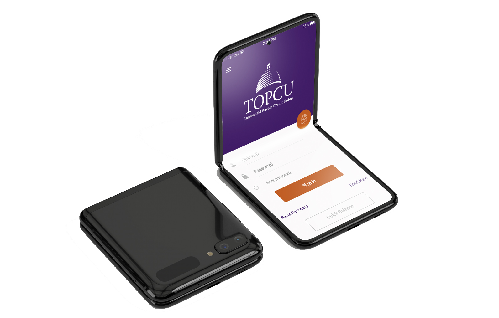 Hands holding cell phone with finger pointing to TOPCU mobile app display