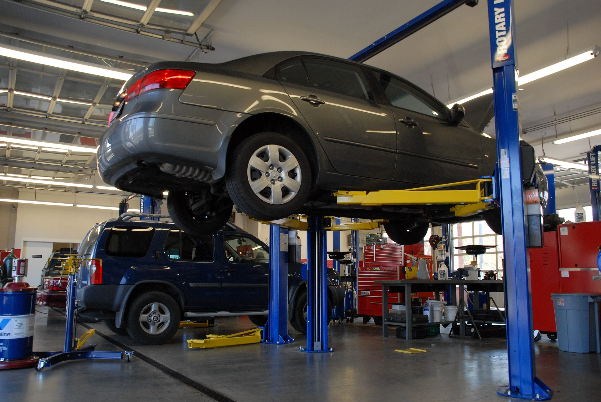Photo of vehicle being service in repair shop