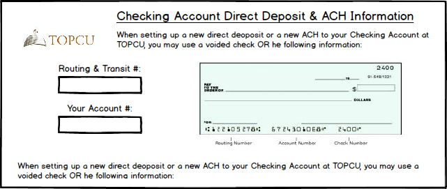 Checking Account Direct Deposit & ACH Information