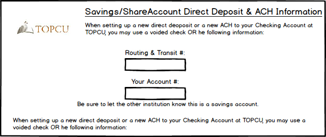 Savings/Share Account Direct Deposit & ACH Information