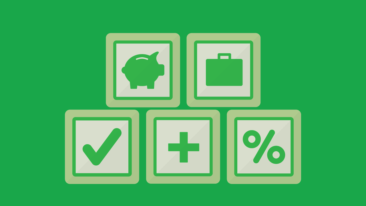 Graphic image of various financial symbols including piggy bank dollar sign percentage sign